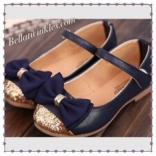 Girls Navy Summer Party Princess Shoes New Formal Glitter Bows Casual UK SELLER!