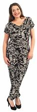 New Womens Cowl Neck Short Sleeve Alibaba Pants Paisely Print Jumpsuits 14-28