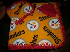 Crocheted Baby Steeler fan Fleece baby blanket, w/hat, & burp cloth Must SEE!!