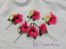 WEDDING FLOWERS HOT PINK GERBERA BUTTONHOLE GROOM BESTMAN LADIES CORSAGE PACKAGE