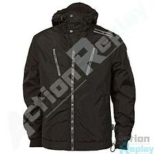 Mens Henleys Jetson Full Zip Lined Black Hooded Windbreaker Jacket Size