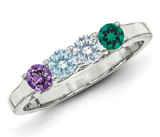 Mother Birthstone Ring Sterling SILVER Mother's Family Ring 2-6 Stones