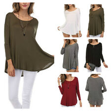 Women's Casual Scoop Neck Flared Bottom Tunic Solid Dolman Long Sleeve Top S M L