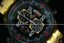 NEW Invicta Men 18K Gold Plated Stainless Aviator Tachymeter Chronograph Watch!!