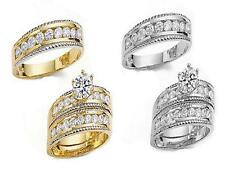 GOLD HIS & HER 10KT SOLID YELLOW/ WHITE GOLD WEDDING RING BAND SET SIZES 5-13