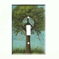 Peace Sign Tree Light Switch Plate Wall Cover Hippie Decor