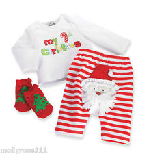 Mud Pie Cotton ~ My First Christmas ~ Baby Girl 4 Piece Xmas Oufit .. Gift Boxed