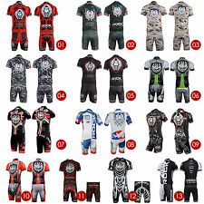Mens Outdoor Sports Short Sleeve Team Jersey Shirt Set Kits Riding Bike Bicycle