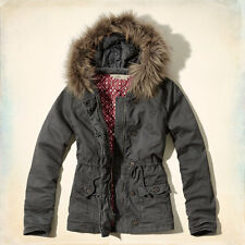Hollister!Juniors New Faux Fur Quilt Twill Cotton Grey Jacket Outerwear Coat-XSM