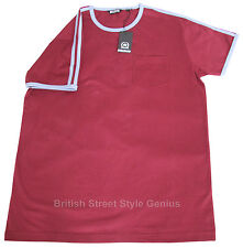 Relco 1970s Style Ringer T Shirt BURGUNDY 100% Cotton Retro Northern Soul Mod