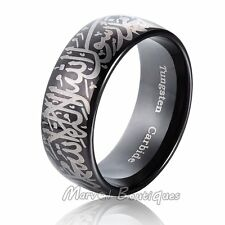 10mm Unique Black Tungsten Carbide Tribal Ring Wedding Band Size 5-15 (142)
