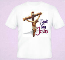 Christian T-Shirt Thank You Jesus Lord Religious Christ Clothing White S-5XL NEW
