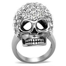 WOMEN'S STAINLESS STEEL SKULL HEAD CRYSTAL COCKTAIL FASHION RING SIZE 8