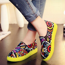 Fashion Womens Round Tod Creeper Slip On Ankle Graffiti Student Shoes Platform