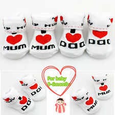 Soft Newborn Baby Toddler Infant Boys Girls Cotton Love Mom Dad Socks 0~6 Months