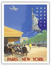 Paris New York Statue of Liberty Vintage Airline Travel Art Poster Print Giclee