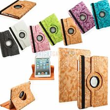 EMBOSSED FLOWER 360 ROTATING PU LEATHER SMART CASE COVER FOR IPAD MINI 3 2 1
