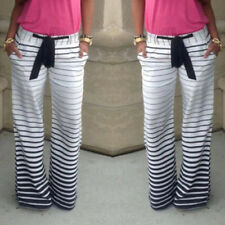 Women Fashion Zebra Casual High Waist Wide Leg Long Pants Palazzo Trousers AK