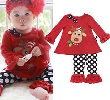 New Style 2pcs Toddler Infant Girls Outfits T-shirt+Pants Kids Clothes Set 1-5Y