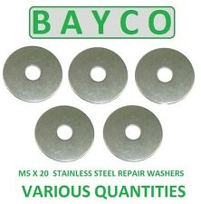 M5 X 20MM STAINLESS STEEL REPAIR WASHER A2 GRADE 304, PENNY MUDGUARD WASHER