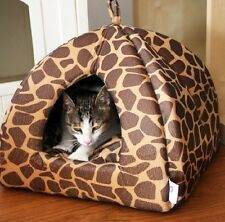 New Leopard Pet Dog Cat Tent House Bed Cat Puppy Cushion Kennel Beds 2 Colors