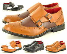 Mens Leather Lined Double Monk Strap Slip On Brogue Office Shoes  UK Size 6-12