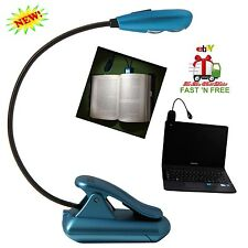 Mini LED Light Clip Adjustable Bright On Reading Book Grips Flexible Lamp Laptop