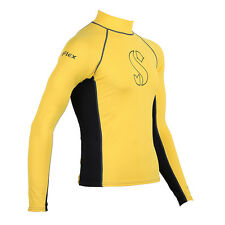 Scubapro T-Flex Long Sleeve Men Swim/Snorkel Rashguard - Black/Yellow