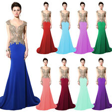 Embroidery Beaded Women Party Evening Prom Gown Pageant Dress Girls Plus Size 10