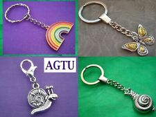 PICK YOUR INSECT Silver Butterfly or Snail KeyChain Keyring Charm Faith Hope