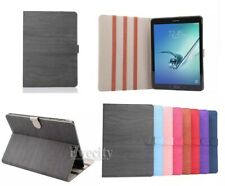 Folio PU Leather Stand WOOD Line Case Cover For Samsung Galaxy Tab S2 / Tab A