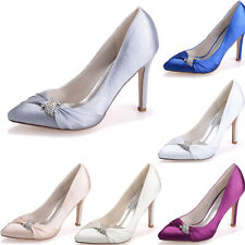 Womens Prom Party Crystal Pointed Toe Shoes Wedding Bridal Pumps Heels Shoes 8 9