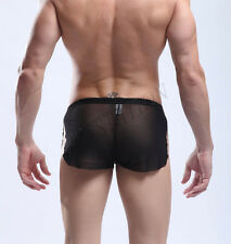Mens Mesh Boxer Brief Sheer See-through Underwear Underpants Trunk Shorts M/L/XL