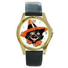 HALLOWEEN BLACK CAT IN WITCH HAT WATCH 6 OTHER STYLES