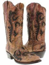 Women's New Pink Black Western Cowboy Boots with Rhinestones Studded Shaft