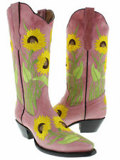 Women's Pink Sunflower Leather Western Cowboy Boots Rodeo Summer Cowgirl