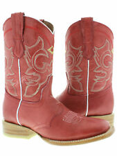Women's Red Mid Calf Leather Western Cowboy Boots Ankle Short Square Rodeo Dance