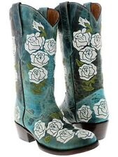 Women's Turquoise Rosal Flowers Roses Leather Cowgirl Boots Western Cowboy Round