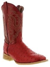 Mens red ostrich quill western cowboy leather boots rodeo square exotic riding