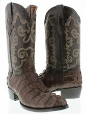 Mens Brown Crocodile Alligator Tail Leather Western Cowboy Boots Riding Rodeo