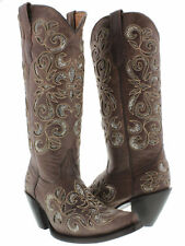 Womens Brown Python Snake Flower Western Tall Leather Cowboy Boots Rodeo Cowgirl