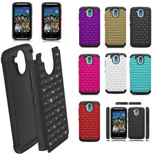 Hybrid Duty Bling Diamond Hard Rubber Protective Case Cover For HTC Desire 526