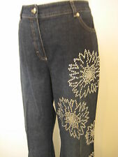 Escada Dark Blue Denim Rhinestone Flower Pattern Bling Jeans Pants Slacks Sz 40