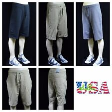 Men's Shorts Jogger Twill Cotton Terry Sports Gym Casual Extra Long Shorts S-3X