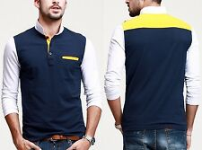 Fashionable Mens Long Sleeve Polo Shirt Constrast Color Casual T-shirt M XL XXL