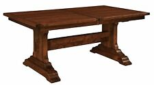 Amish Rustic Manchester Trestle Dining Table Rectangle Extending Solid Wood