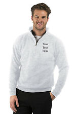 Embroidered Mens/Ladies Quarter Zip Sweat Jacket, Size XS to XXXL,Colour Heather