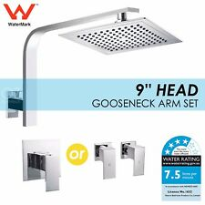 """9"""" Bathroom Square Rainfall Shower Head Rose With Cubic Wall Arm Mixer Tap Set"""