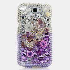 FOR SAMSUNG GALAXY S6 NOTE 5 CRYSTALS BLING CASE COVER DOUBLE BUTTERFLY PURPLE