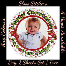 Personalised STOCKING Christmas Photo STICKERS -  Present Party Labels gift tag